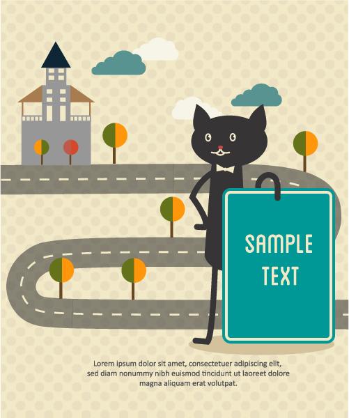 Black cat backgrounds 1 vectors