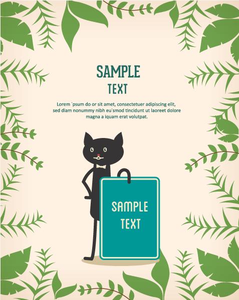 Black cat backgrounds 2 vector