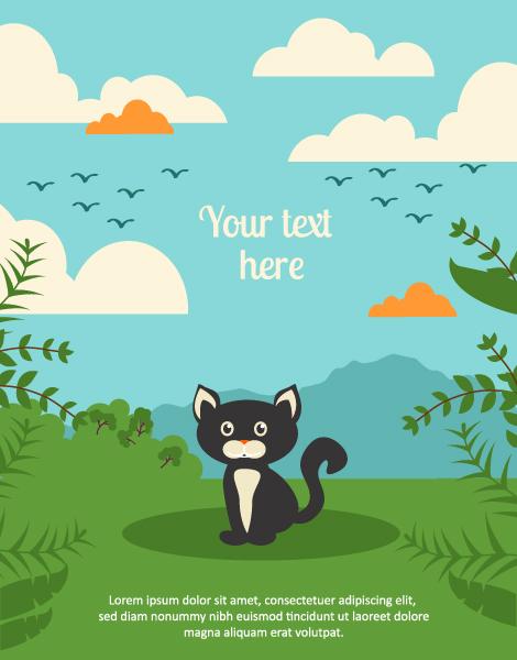 Black cat backgrounds 3 vector