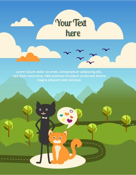 Black cat backgrounds 4 vector