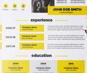 Black with Yellow Resume PSD Template
