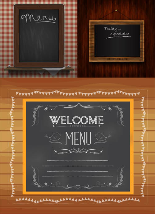 Blackboard Menu Set vector