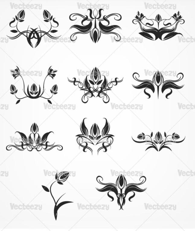 Blakc floral ornaments vector