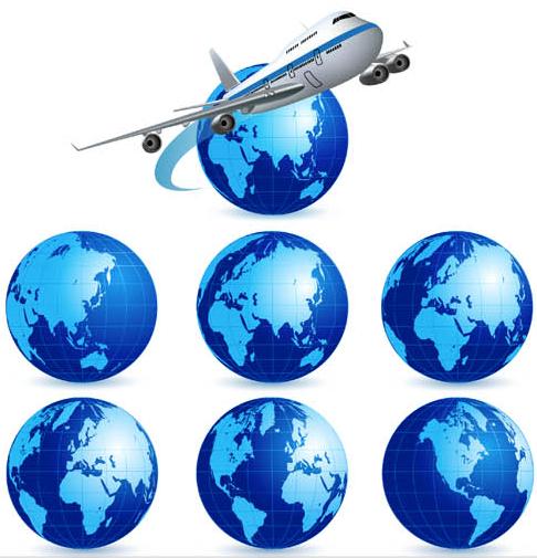Blue 3D Globes Set vector