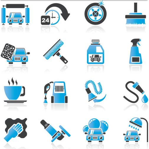 Blue Cars Icons Set shiny vector