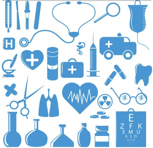 Blue Medicine Icons free vector
