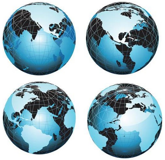 Blue Modern Globes art vector