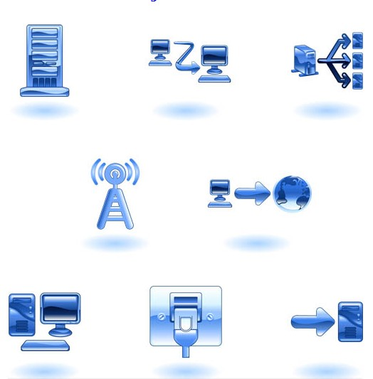 Blue Network Icons vector