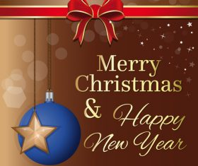 Blue ball and gold star vector christmas greeting card
