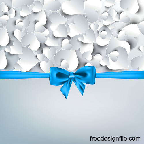 Blue bows with valentine background vector 02