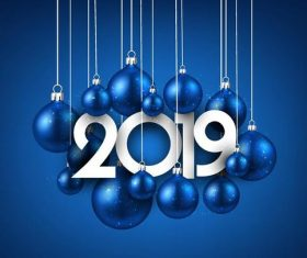 Blue christmas balls with 2019 new year vector