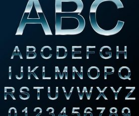 Blue metal alphabet with number vector