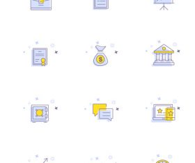 Blue office small icon hand drawn vector