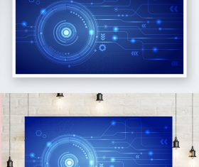 Blue tech element vector