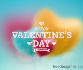 Blurs heart with valentine day background vector