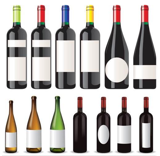 Bottles with wine vector