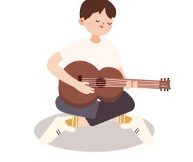 Boy playing guitar hand drawn vector