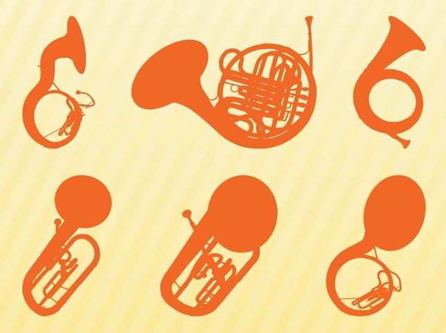 Brass Instruments Silhouettes art vector