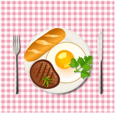 Breakfast with beef egg and bread Free vector set