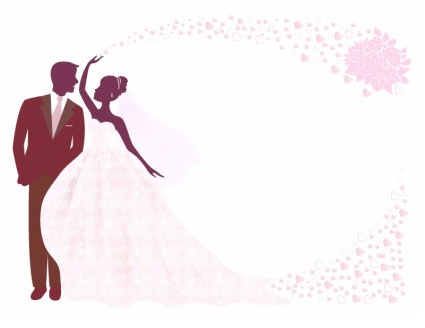 Bride and Groom Silhouette Illustration vector
