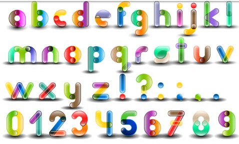 Bright Creative Alphabet set vector