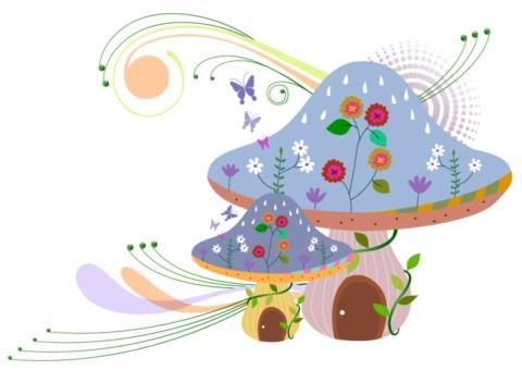 Bright cartoon mushrooms vector