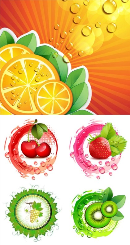 Bright fruit with Drops vector set