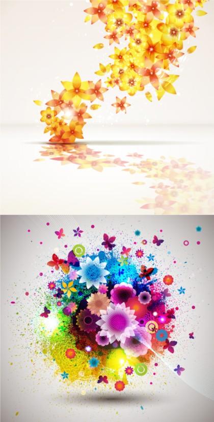 Brilliant flower set vectors