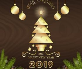 Brown background with christmas and 2019 new year design vector