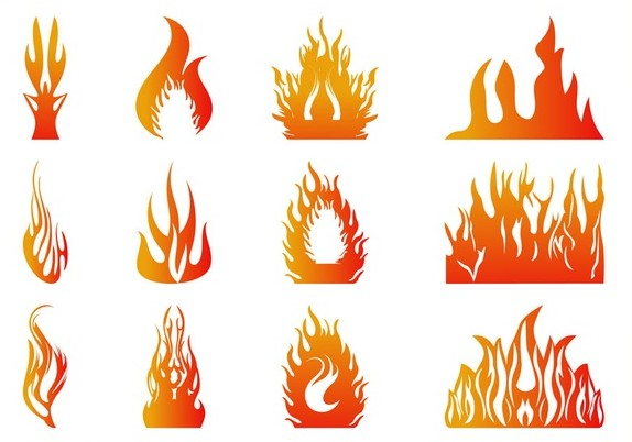 Burning Flames Graphics art vector set