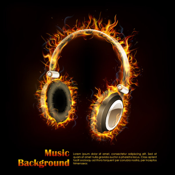 Burning headset vector design