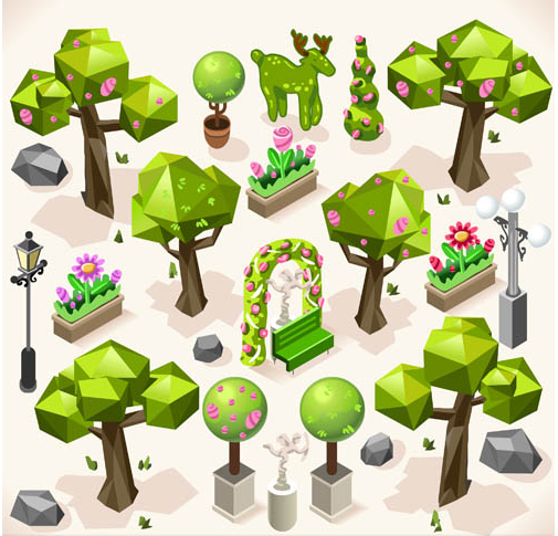 Bushes and Trees vector