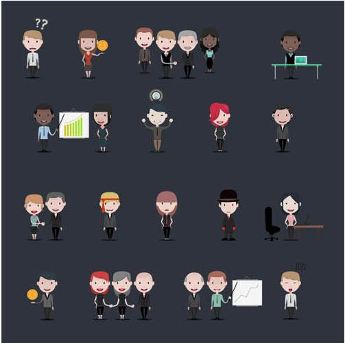 Business Cartoon People Set vectors