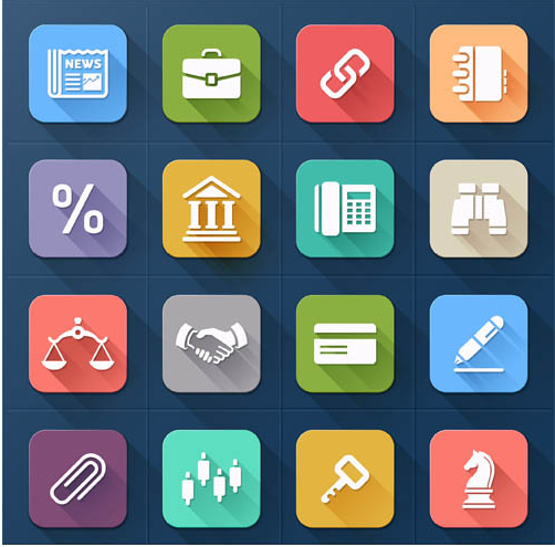Business Flat Icons Mix shiny vector
