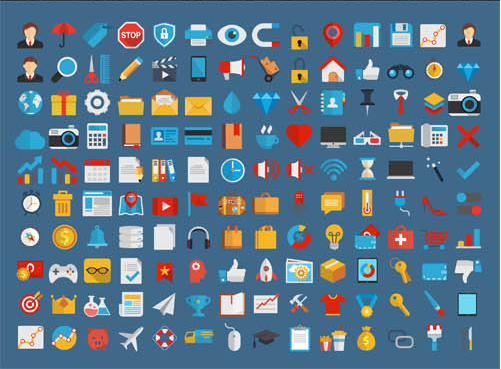 Business Flat Shiny Icons vector