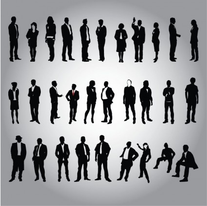 Business People Silhouette Vector Set vector