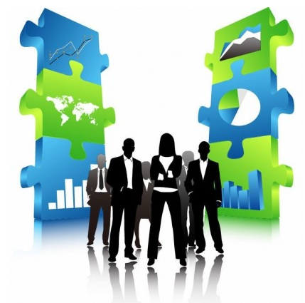 Business People Team with 3D Puzzle Pieces vector