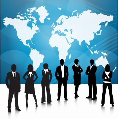 Business People World Map vectors