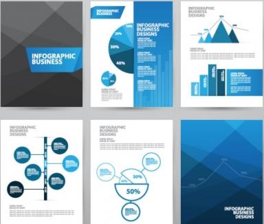 Business brochures set vector set