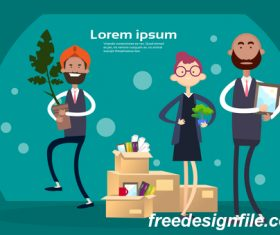 Business people funny design vectors material 03
