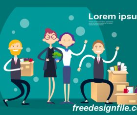 Business people funny design vectors material 04
