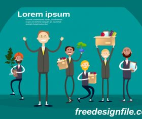 Business people funny design vectors material 07