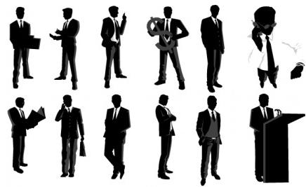 Businessman Silhouettes vectors graphics