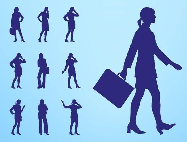Businesswomen Silhouettes art vector graphics