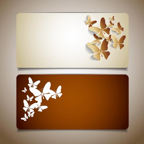 Butterflies cards 02 set vector