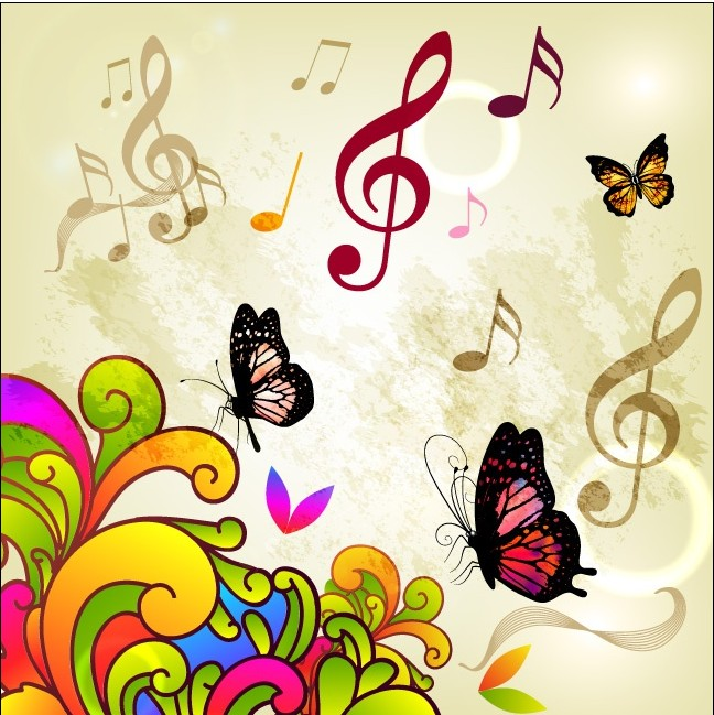 Butterfly Music vector