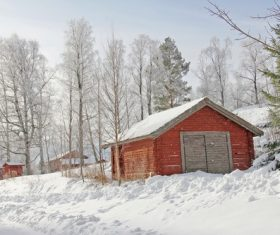 Cabin in the snow Stock Photo 03