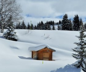 Cabin in the snow Stock Photo 04