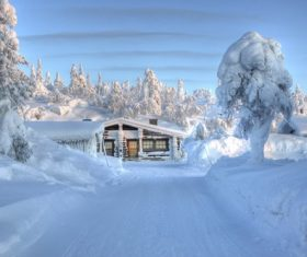 Cabin in the snow Stock Photo 06