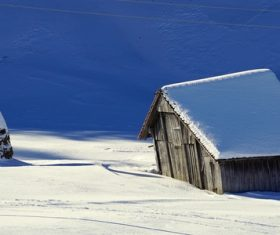 Cabin in the snow Stock Photo 09